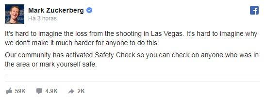 Mark Zuckerberg lamenta ataque em Las Vegas: 'Difícil imaginar por que não tornamos mais difícil para qualquer um fazer isso'